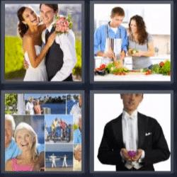4 fotos 1 palabra recién casados, novio, pareja de ancianos