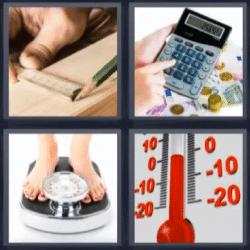 4 fotos 1 palabra calculadora, peso, termómetro