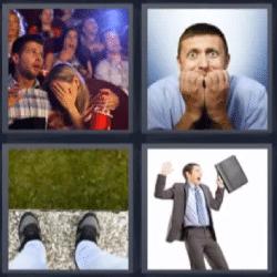 4 fotos 1 palabra cine, vertigo, hombre con cartera gritando