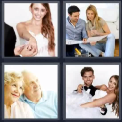 4 fotos 1 palabra pareja de ancianos, novios, hombre y mujer
