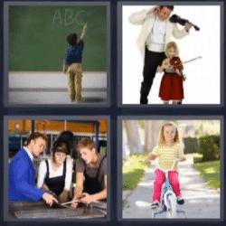 4 fotos 1 palabra niño escribiendo en pizarra, hombre y niña con violines, niña en bicicleta, gente trabajando en taller