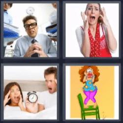 4 fotos 1 palabra gente gritando
