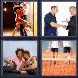 4 fotos 1 palabra bailando tango, tenis, hombres dandose la mano, pareja sonriendo