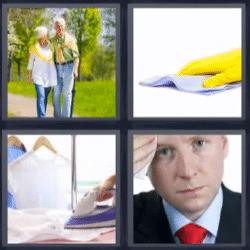 4 fotos 1 palabra pareja de ancianos, plancha, guante amarillo