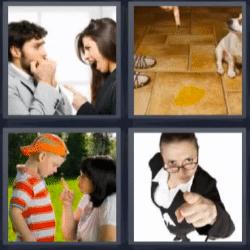 4 fotos 1 palabra pareja discutiendo, regañar