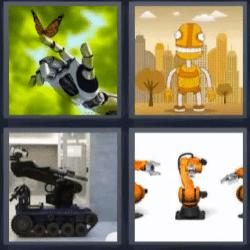 4 fotos 1 palabra mano de robot con mariposa