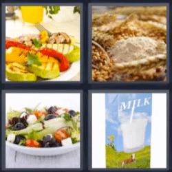 4 fotos 1 palabra verduras asadas, cereales, ensalada, leche