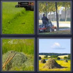 4 fotos 1 palabra tractor, prado, montones de hierba