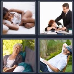 4 fotos 1 palabra gente durmiendo