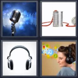 4 fotos 1 palabra microfono, auriculares, latas unidas por cuerda, mujer escuchando música