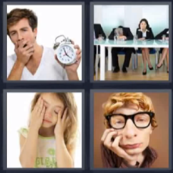 4 fotos 1 palabra hombre bostezando con reloj en la mano, niña medio dormida
