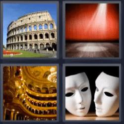 4 fotos 1 palabra coliseo romano, escenario, caretas, gradas