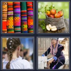 4 fotos 1 palabra telas de colores, trenza, manzanas