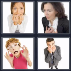 4 fotos 1 palabra mujeres con cara de miedo, hombre con manos en la cara