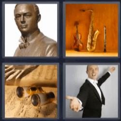 4 fotos 1 palabra instrumentos musicales, estatua, cantante