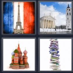 4 fotos 1 palabra torre eiffel, libros, edificio antiguo