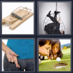 4 fotos 1 palabra ratonera, hombre en una red, dedos cruzados, niños soplando
