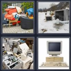 4 fotos 1 palabra computadora, televisores en la nieve, muebles en la calle