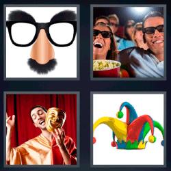 4 fotos 1 palabra gafas con bigote