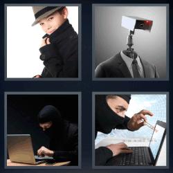 4 fotos 1 palabra traje con camara