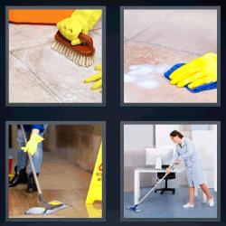 4 fotos 1 palabra hombre limpiando el piso