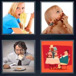 4 fotos 1 palabra espaguetis