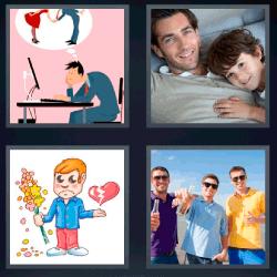 4 fotos 1 palabra corazon roto