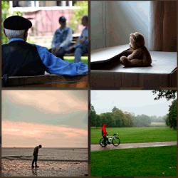 1 palabra 4 fotos hombre con bici en parque