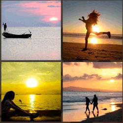 1 palabra 4 fotos puesta de sol playa