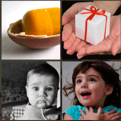 1 palabra 4 fotos manos con regalo