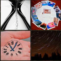 1 palabra 4 fotos reloj dibujado en la mano