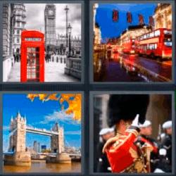 4 fotos 1 palabra cabina telefonica roja