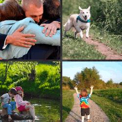1 palabra 4 fotos perro abrazo niños