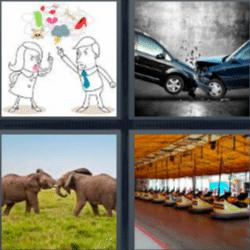 4 fotos 1 palabra elefantes