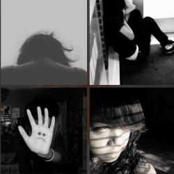 1 palabra 4 fotos mano con carita triste