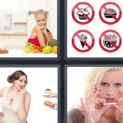 4 fotos 1 palabra simbolos comidas prohibidas