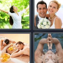 4 fotos 1 palabra mujer brazos abiertos