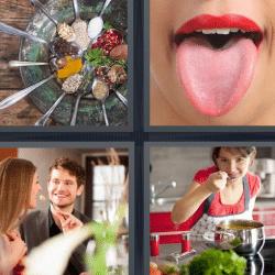 4 fotos 1 palabra mujer sacando la lengua