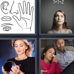 4 fotos 1 palabra dibujos nariz oreja mano labios ojo