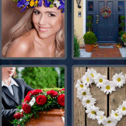 4 fotos 1 palabra corona de flores