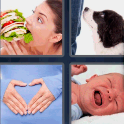 4 fotos 1 palabra mujer comiendo hamburguesa