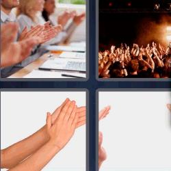 4 fotos 1 palabra personas aplaudiendo