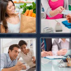 4 fotos 1 palabra mujer con bolsa de la compra