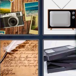 4 fotos 1 palabra cámara de fotos antigua