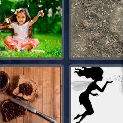 4 fotos 1 palabra nina sobre la hierba