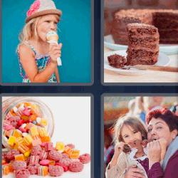 4 fotos 1 palabra niña tomando helado