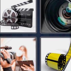 4 fotos 1 palabra plaqueta y rollo cine