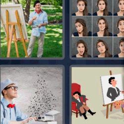 4 fotos 1 palabra hombre pintando un cuadro