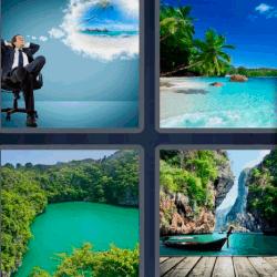 4 fotos 1 palabra ejecutivo pensando en vacaciones
