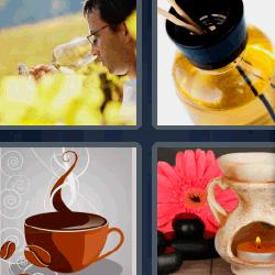 4 fotos 1 palabra de café